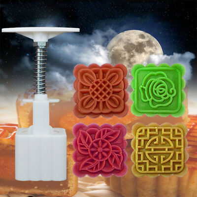 50g 4 Flower Stamps Square Pastry Moon Cake Mold Mould Cookies Mooncake Decor