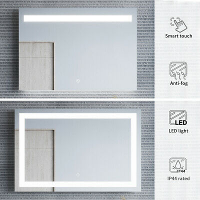 LED Light Illuminated Mirror Touch Switch Wall Hung Anti-fogging Makeup Bathroom