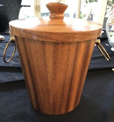 Retro Kinc Ice Bucket Timber With Anodised Aluminium Liner In Ex Condition