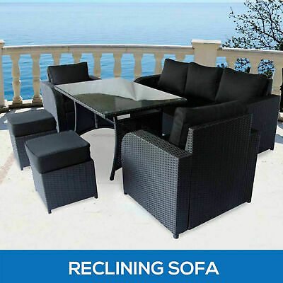 7 Seater Wicker Outdoor Dining Set Garden Furniture Recliner Sofa Lounge Setting