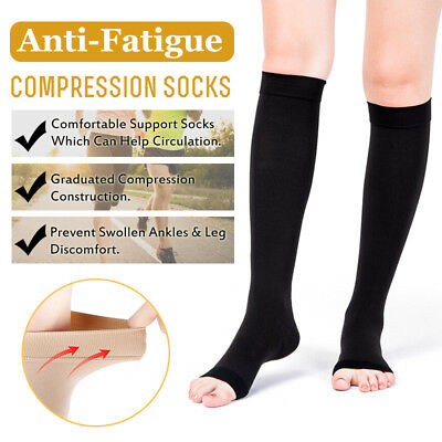 New 23-32mmHg Travel Flight Socks Medical Compression Support Stockings Open Toe