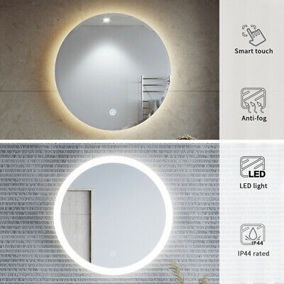 Round Bathroom LED Illuminated Mirror Touch Switch Wall Hung White/Amber Light