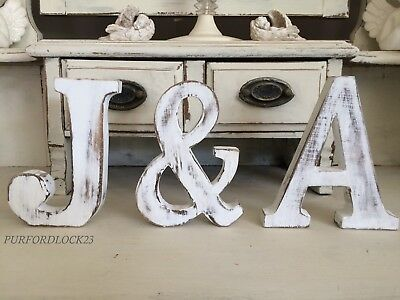 Large Shabby Chic Vintage White Wooden  Name Alphabet Wedding Letters 15Cm