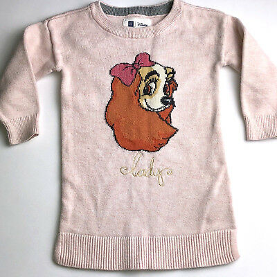 GAP Disney Lady And The Tramp Pink Sweater Toddler Size 2 Years Old *LIMITED*