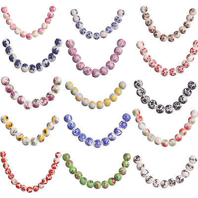 20Pcs 10mm Round Flower Printing Round Ceramic Porcelain Loose Beads Making New