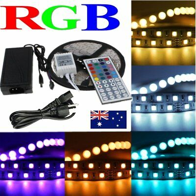 5-50M 5050 RGB White LED Strip Light Flexible Lighting 12V IR Controller Adapter