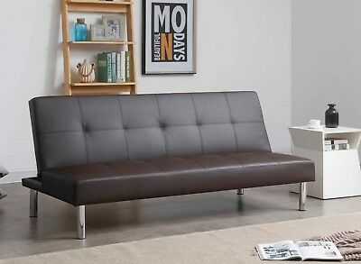 Milano Luxury Modern 3 Seater Padded Faux Leather Sofabed  Sofa bed Settee