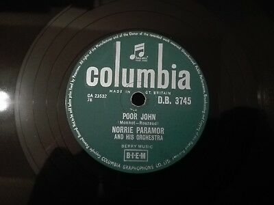 78obrotów Norrie Paramor Poor John / Theme The Threepenny Opera Columbia DB3745