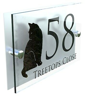 Cat House Sign Custom Made Personalised Home Plaque Door Number Street Address