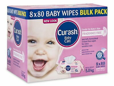 Curash Fragrance Free Baby Wipes 8 x 80pk Unscented Ideal Sensitive Skin Thick