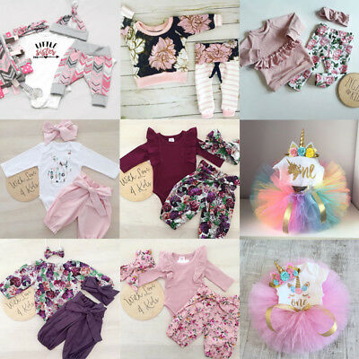 Cute Newborn Baby Girls Unicorn Floral Top Romper Skirt Pants Outfits Clothes UK
