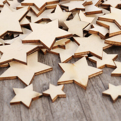 100Pcs Wooden Mini Mixed Wood Star Art Crafts DIY Decor Birthday Wedding Display