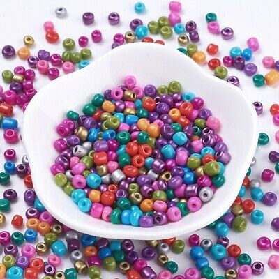 50g Glass Seed Beads Opaque Colours 4~5mm Lustered Loose Spacer Beads