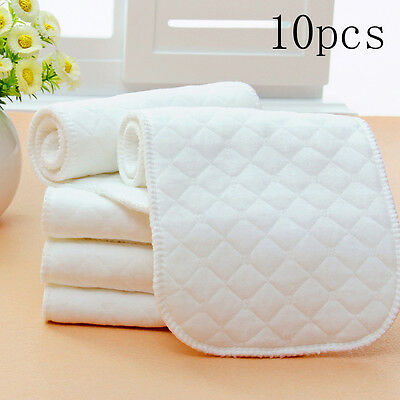 10 Pieces Reusable Pure Cotton Baby Cloth Diaper Nappy Liners Insert 3Layers I5#