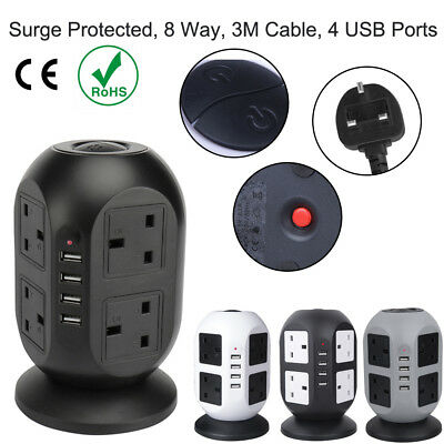3M 8 Way Gang Surge Protected Tower Socket Extension Lead Cable With 4 USB 2.1A