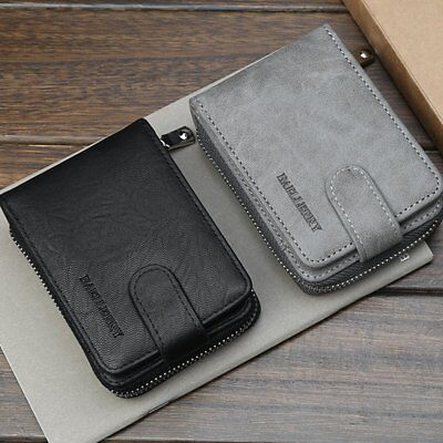 Men's PU Leather Bifold Wallet Credit ID Card Holder Mini Purse Money Clip