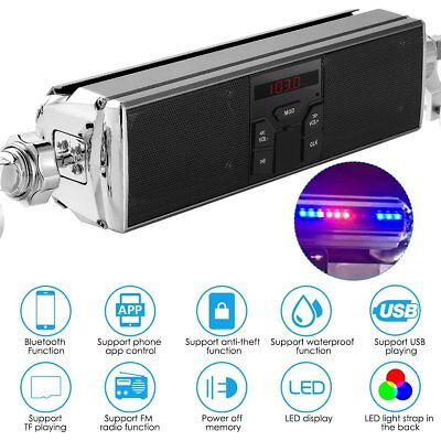 Motorcycle Bluetooth FM Radio Audio System Stereo Speakers MP3 USB APP LED Light