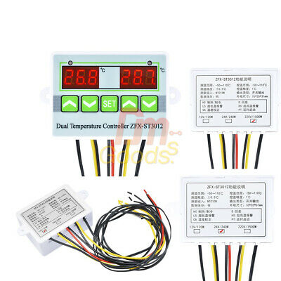 ZFX-ST3012 12/24/220V Dual Digital Temperature Controller 10A Thermostat Switch