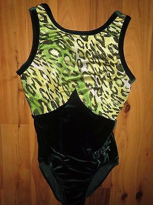 GK Elite Carly Shiny Green Gold Cheetah Velvet AS Adult Small Gymnastics Leotard