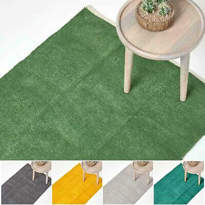 100% Cotton Plain Chenille Rugs Washable Soft Floor Mat with Natural Trim Finish