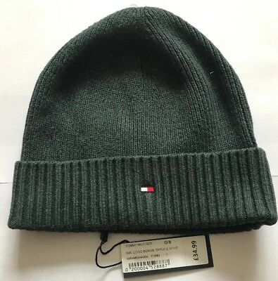 Bnwt Mens Tommy Hilfiger Small Logo Grey Cotton Cashmere Beanie hat One Size 1745ba0aaec3