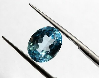Bright Blue Color 4.14 Ct Natural Brazil Topaz Loose VS Eye Clean Oval Cut Gem