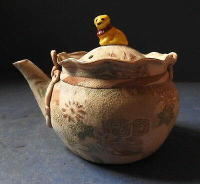Japanese Banko Ware Marbled Clay Teapot With Cat Finial - Early 20Th Century