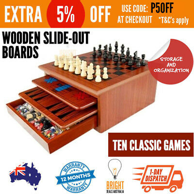 Wooden Board Games Set - Backgammon Chess Checkers Chinese Checkers Mancala