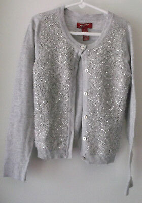 Arizona Jean Co. Cardigan Sweater Sequined Front Gray Acrylic Blend Size M 8
