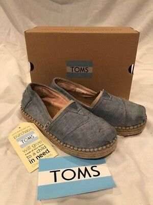 b43afb0abe4 Girls TOMS Platform Alpargata Blue Slub Chambray Slip On Shoes