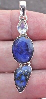 Superb Boho Sterling Silver Indian Sapphire Lapis Lazuli and Moonstone Pendant