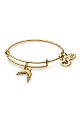 Alex and Ani Dolphin Bracelet Charm Logo Expandable Wire Gold Tone Bangle
