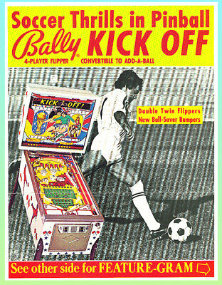 KICK OFF, 1974 Bally Pinball Advertising Flyer