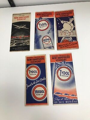 Lot Of 5 Vintage 1930/40's Vermont & New Hampshire Flying A Road Maps