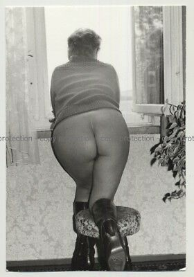 Big Butted Semi Nude Leans Out Of Window / Boots (Vintage Photo Risqué DDR B/W 1
