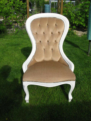 Antique style  used small spoon back nursing chair with button back in beige