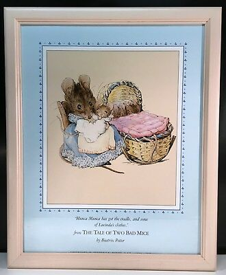 """Framed BEATRIX POTTER from THE TALE OF TWO BAD MICE 1989 poster 22.5"""" X 18"""" 1989"""