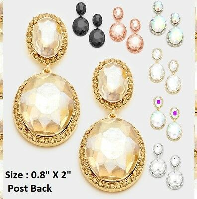 Crystal Rhinestone Wedding Cocktail Prom Post Earrings Double Oval Dangle Bridal