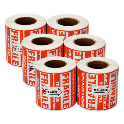 3000 Fragile Stickers 2x3 Handle with Care Thank You Warning Labels 500 / Roll