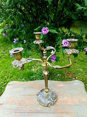 Stunning 19thC Antique French Gilt Scrolled Acanthus Leaf Bougeoir Candlestick