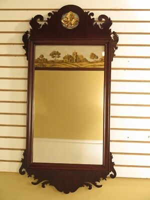 F28622C: Vintage Federal Mahogany Mirror w. Reverse Painted Glass Panel