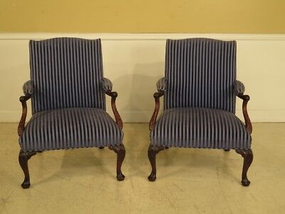 F28483C: Pair Vintage Georgian Style Mahogany Upholstered Library Chairs
