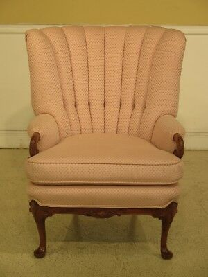 F44330EC: Vintage 1950 s Carved Mahogany Channel Back Wing Chair