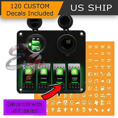 12V Dual USB Car Charge 4 Gang Switch Panel Waterproof Toggle Rocker Marine Boat