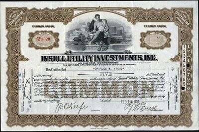 Insull Utility Investments, Inc., 1932, Unissued Stock Certificate