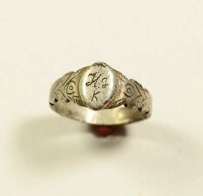 Very Nice Byzantine To Post Medieval Silver Ring - Inscribed - Wearable - Rare