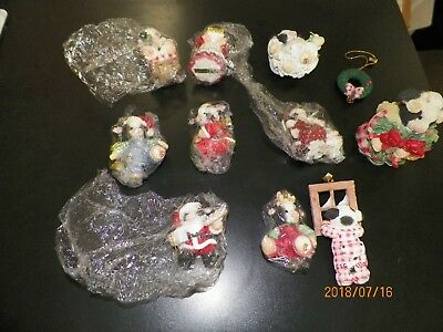 Mary's Moo Moos- Assorted Christmas Ornaments -  Lot of 11