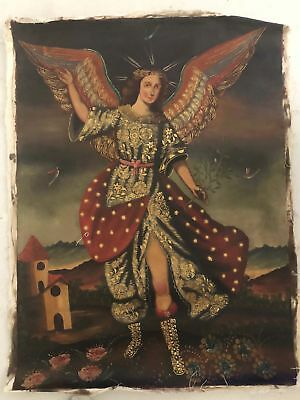 19th Century Spanish American Angel Gabriel Oil Painting Cusco Antique Icon