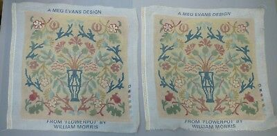 PAIR of WILLIAM MORRIS style FLOWERPOT COMPLETED TAPESTRY NEEDLEPOINT PANELS