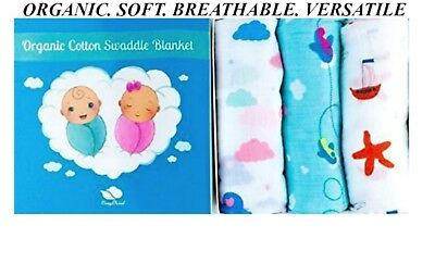 CozyCloud 100% Organic Cotton Muslin Swaddle Baby Blankets, Set of 3